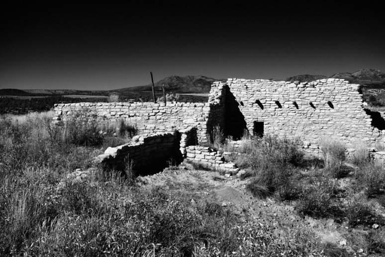 Ancestral Puebloan ruin; Blue Mountains in background