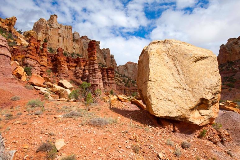 Boulder and hoodoos